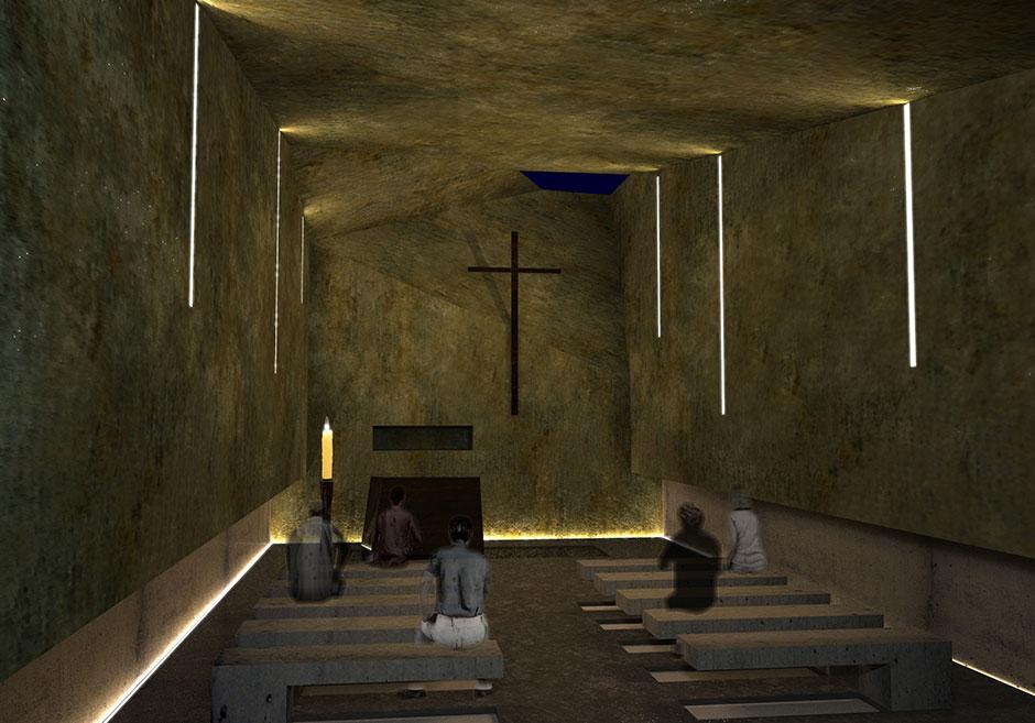 Vista della cappella di notte